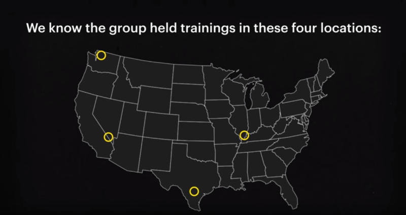 Graphic created by ProPublica showing training sites of the white supremacist group Atomwaffen Division.