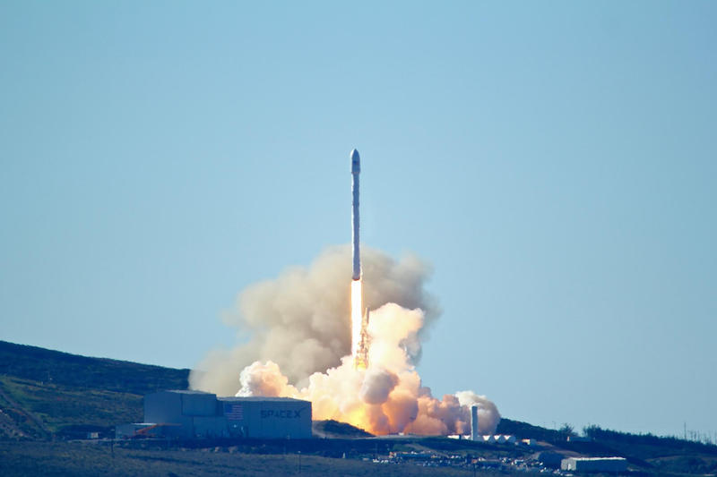 Space-X's Falcon 9 rocket with 10 satellites launches at Vandenberg Air Force Base, Calif. on Saturday, Jan. 14, 2017.