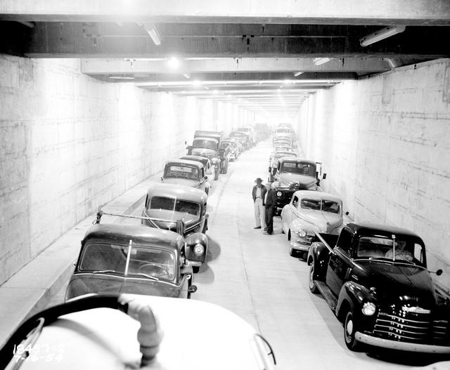 The Battery Street Tunnel in downtown Seattle in 1954 during a carbon monoxide test. The tunnel will come down this year with the Alaskan Way Viaduct.