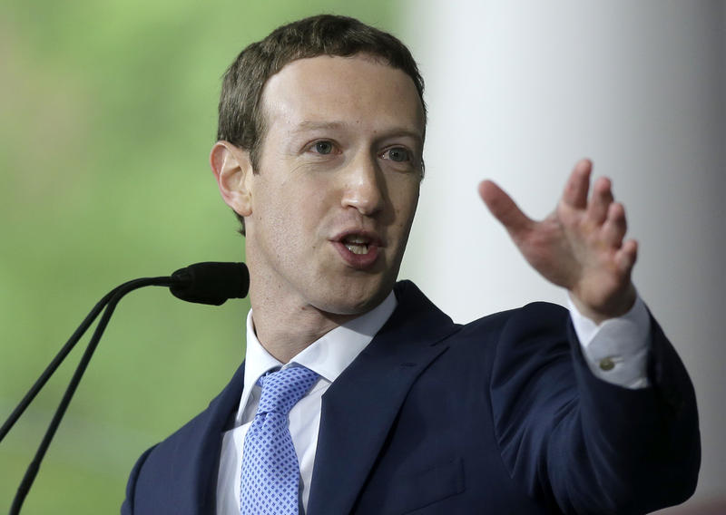 FILE - In this May 25, 2017, file photo, Facebook CEO Mark Zuckerberg delivers the commencement address at Harvard University in Cambridge, Mass.