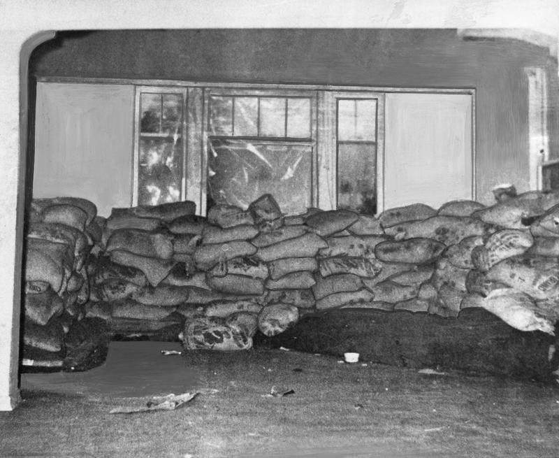 Picture of the fortified bunker occupied by the Seattle Black Panthers. The Panthers had moved to new offices when this photo was taken.
