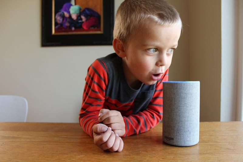 Oscar Pulkkinen, 4, the writer's son, asks Alexa to make an elephant sneeze. She obliged. Alexa is an artificial intelligence device from Amazon. It is voice controlled; users can turn on lights, play songs and make purchases by saying, 'Hey, Alexa.'