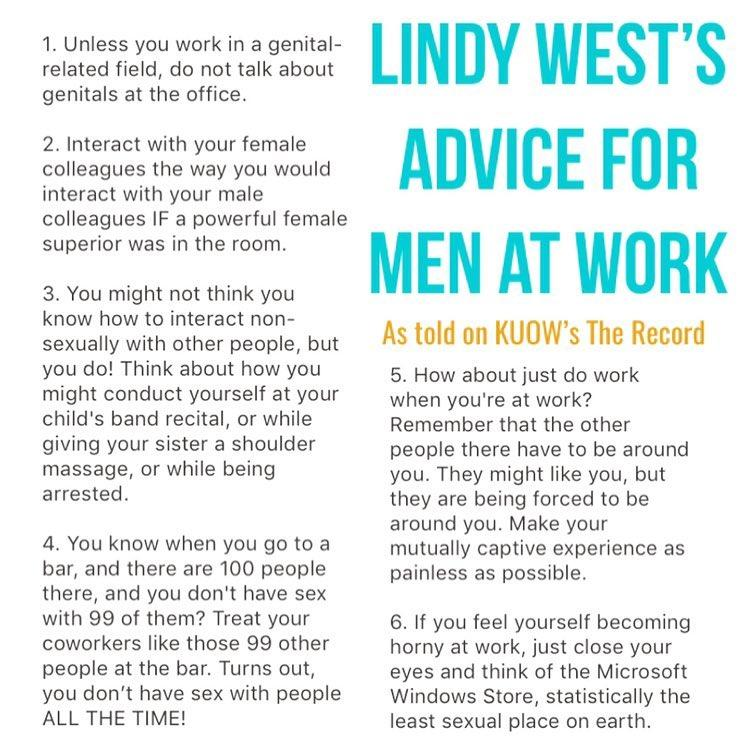 Lindy West's advice for men at work