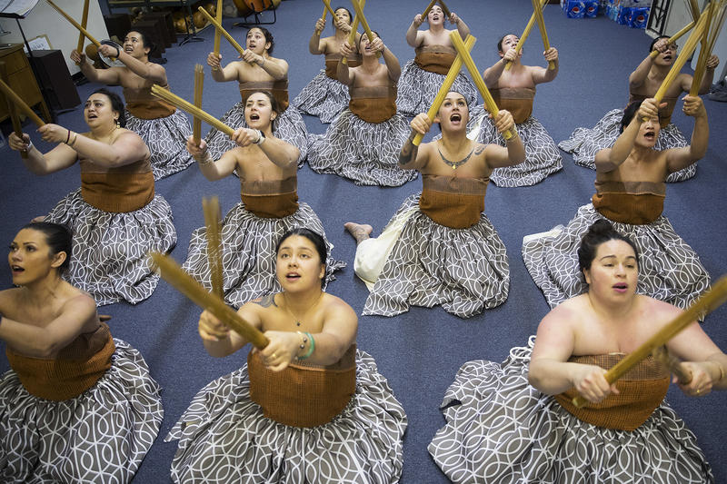 Dancers practice the traditional Kahiko dance that they will perform at the Merrie Monarch Festival, on Thursday, March 22, 2018, at the halau in Federal Way.