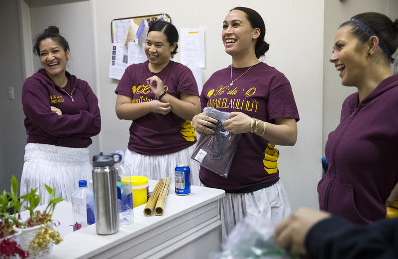 From left, Sharie Wong, Rachel Aleaga-Tofa, Leilani Kaaiwela-Pedreira and Carmen Tuncap laugh during practice on Friday, March 16, 2018, at the halau in Federal Way.