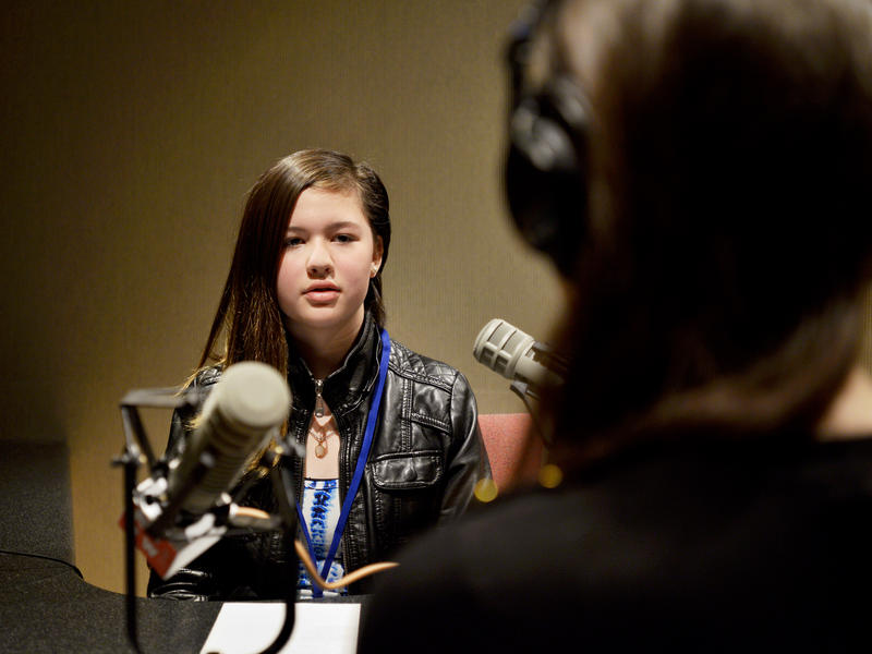 Fifth grader Nina Perry at KUOW Public Radio in Seattle