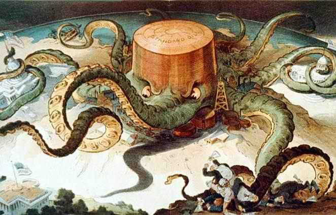 Standard Oil depicted as an octopus, parodying its status as a monopoly.