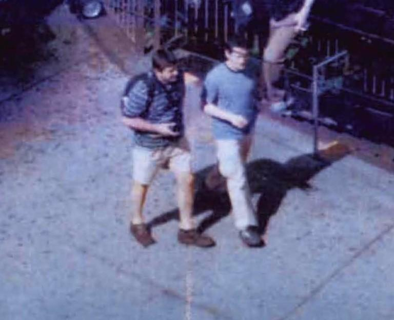 FBI Surveillance photo of Michael Zottoli (right) and Richard Murphy (left) at Columbus Circle, New York in 2004. Both were members of 'Operation Ghost Stories.' Michael and his wife Patricia Mills were stationed in Seattle in the early 2000s.