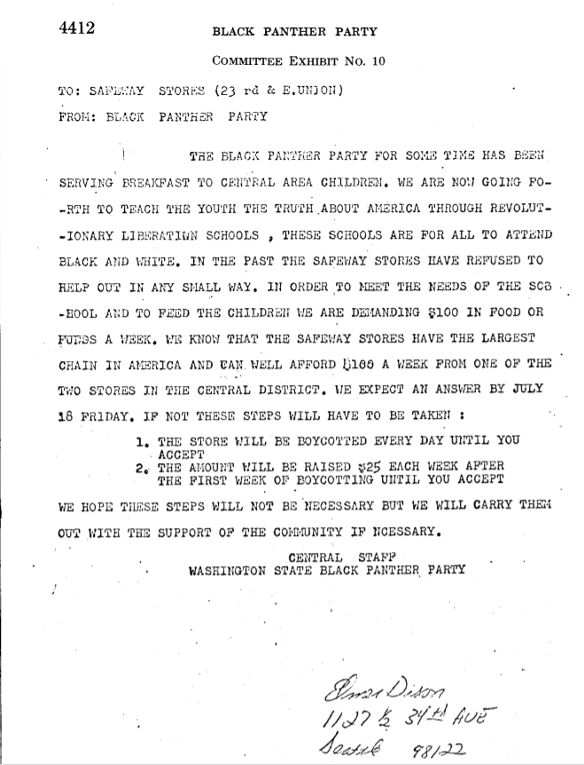 Copy of 1969 letter Seattle Black Panthers sent to Safeway store at 23rd and Union.