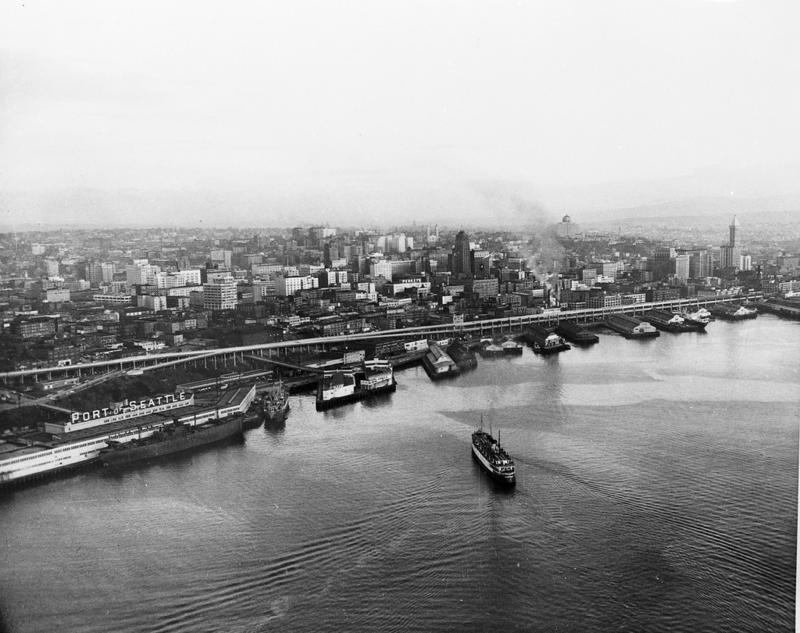 Seattle's water front in 1952 with the Alaskan Way Viaduct.