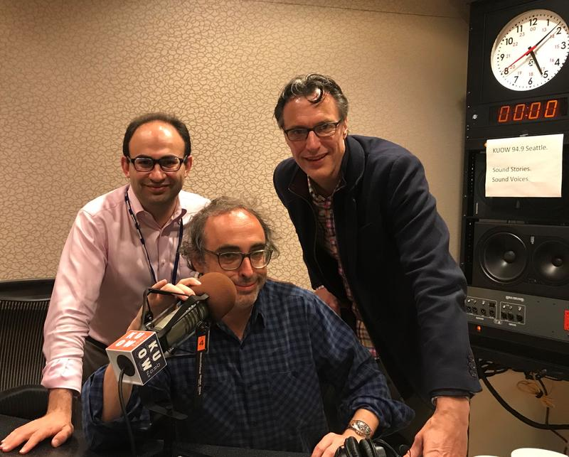 Sasha Senderovich, Gary Shteyngart and Bill Radke (L-R)