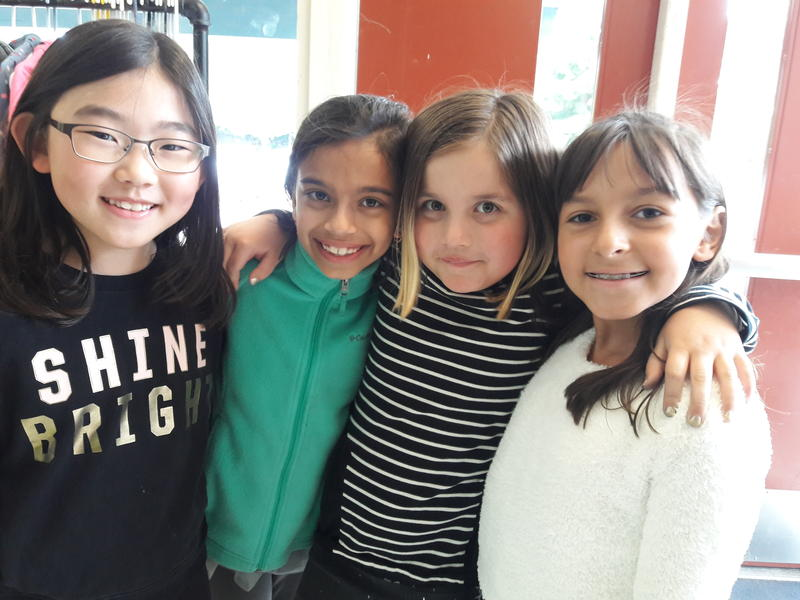 Left to right, Rachel Park, Sonali Coehlo, Brooke Lell and  Judith Prado are part of the school's Green Team. They sort and organize the collected food before storing them in the fridge.