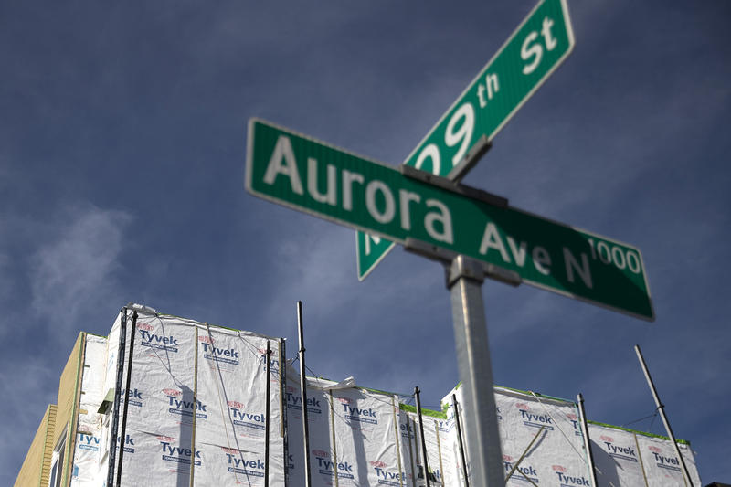 A street sign on Aurora Avenue North, part of the historic highway 99