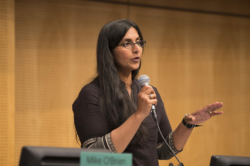 Councilmember Kshama Sawant speaks during the head tax vote on Monday, May 14, 2018, at City Hall in Seattle.
