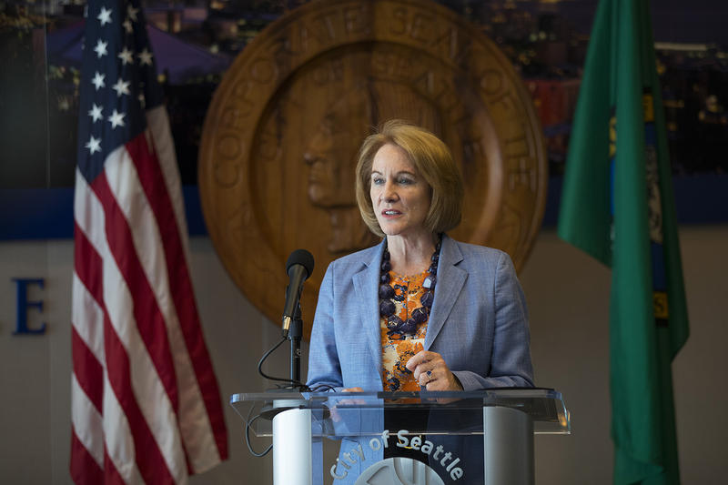 Seattle mayor Jenny Durkan speaks during a press conference after the head tax vote on Monday, May 14, 2018, at City Hall in Seattle.