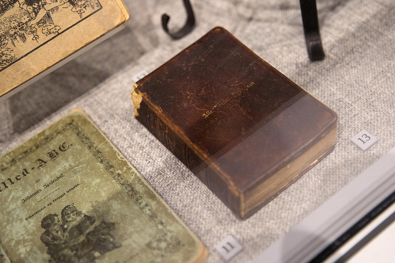 A hymnal for Lutheran Christians in America, donated by Curator for Special Projects Nancy Engstrom Zinn, is on display on Wednesday, May 2, 2018, at the new Nordic Museum in Seattle.