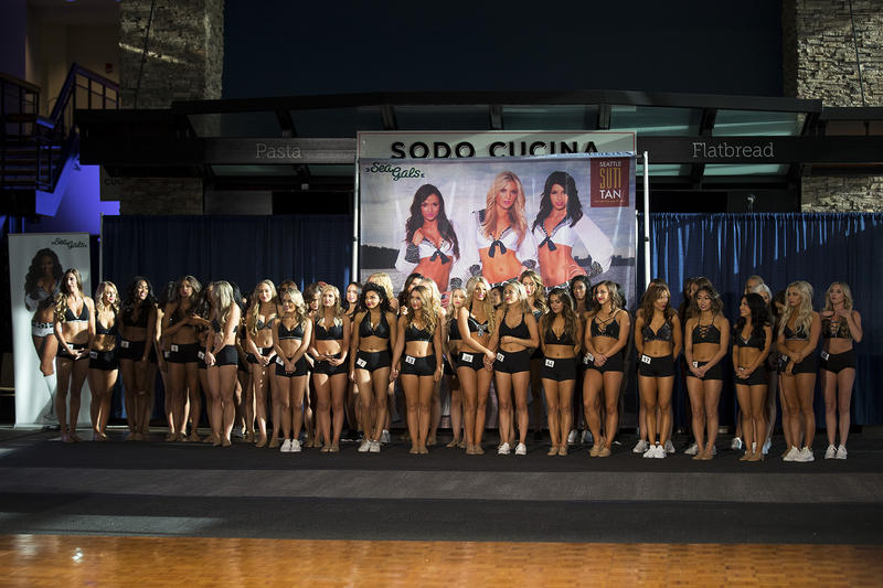 52 Sea Gals contestants line up before the 2018 team is announced on Sunday, May 13, 2018, at the CenturyLink Field West Club Lounge in Seattle.