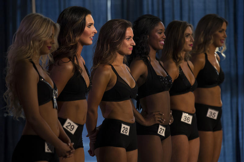 Sea Gals hopefuls line up before performing during the final auditions on Sunday, May 13, 2018, at the CenturyLink Field West Club Lounge in Seattle.