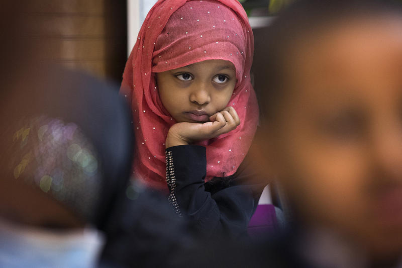 Hiyam, 8, listens to her 2nd-grade teacher Nimo Abdi during class on Friday, April 20, 2018, in Tukwila.
