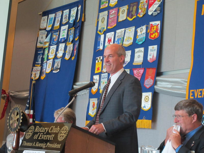 Rep. Rick Larsen speaks to the Everett (Wash.) Rotary in the Grand Vista Ballroom of Naval Station Everett in late August 2011.
