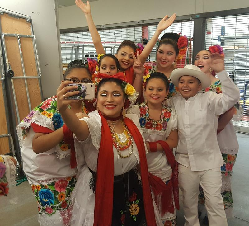 Teacher Luna Garcia with Joyas Mestizas dancers