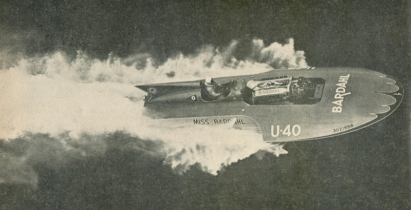 Hydroplane racer and stunt pilot Mira Slovak drives the Miss Bardahl.