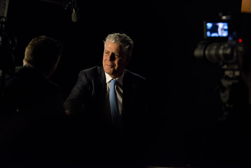 "Anthony Bourdain during the Peabody interview for ""Parts Unknown."""