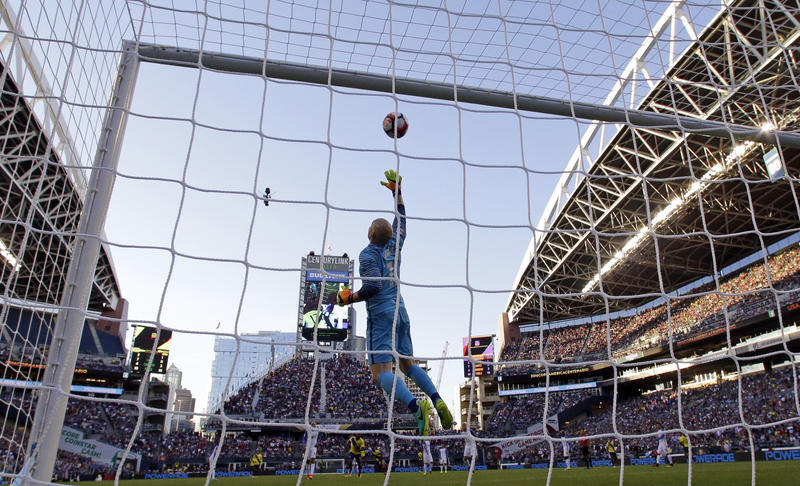 United States goalie Brad Guzan leaps for a shot by Ecuador in the second half of a Copa America Centenario soccer match, Thursday, June 16, 2016 at CenturyLink Field in Seattle.