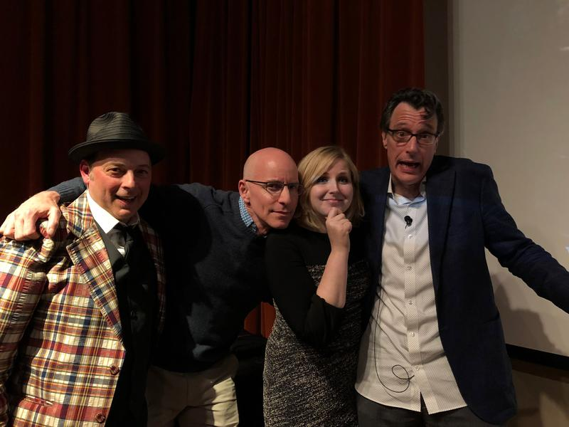 Jonathan Evison, C.R. Douglas, Melissa Santos and Bill Radke on stage at the Bainbridge Island Museum of Art.