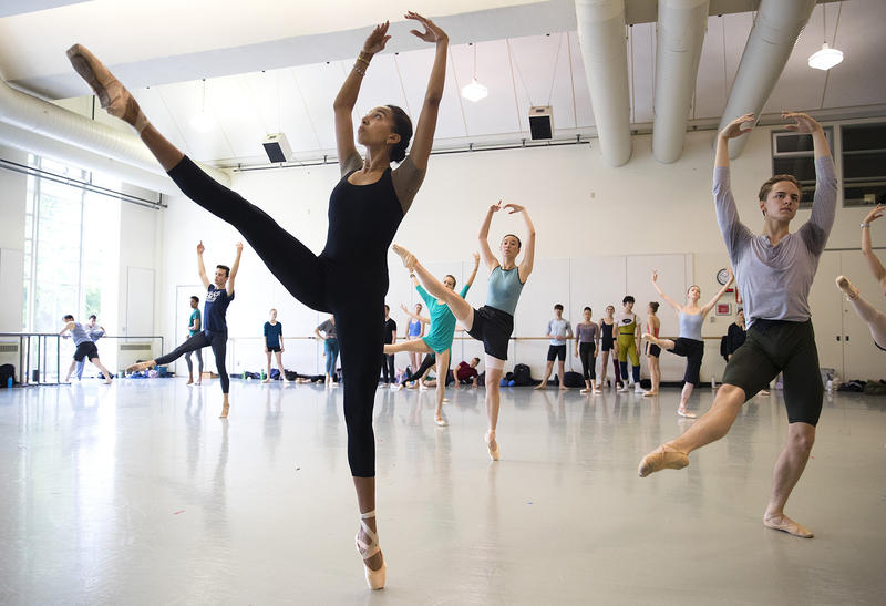 Amanda Morgan, left, dances during company class with instructor Peter Boal on Thursday, May 24, 2018, at the Pacific Northwest Ballet in Seattle.