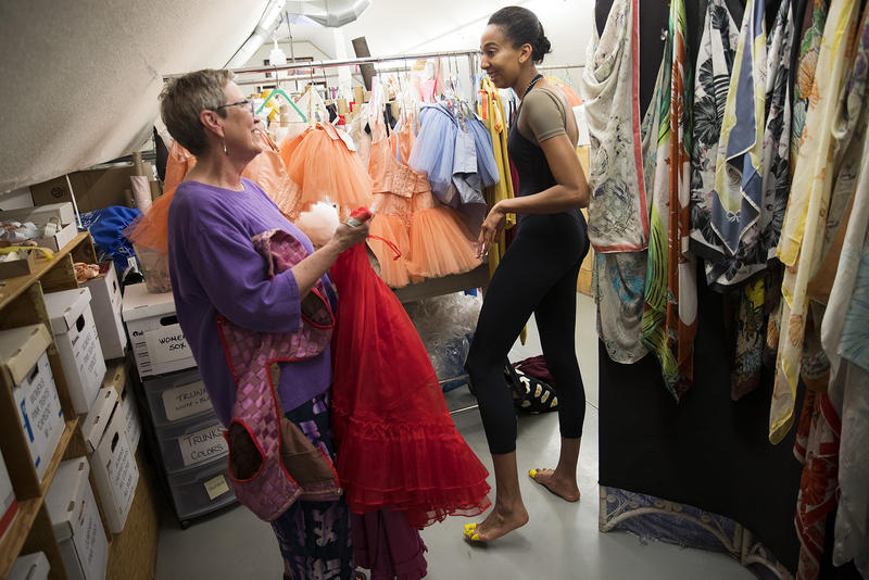 Amanda Morgan talks with Sherri Thompson, left, after a costume fitting on Thursday, May 24, 2018, at the Pacific Northwest Ballet in Seattle.