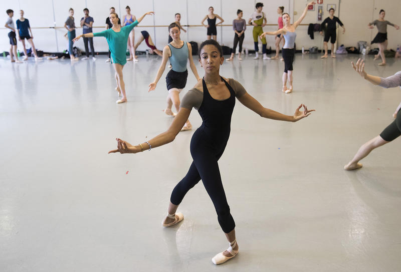 Amanda Morgan, center, dances during company class with instructor Peter Boal on Thursday, May 24, 2018, at the Pacific Northwest Ballet in Seattle.