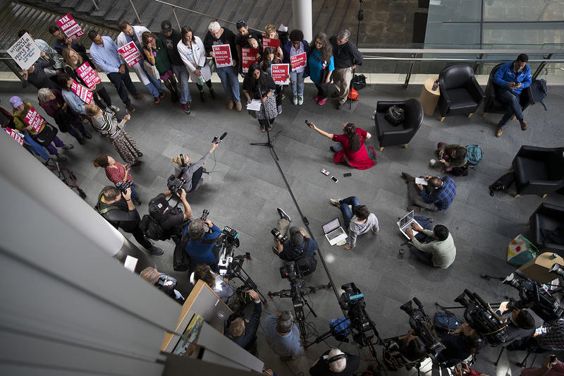 Councilmember Kshama Sawant holds a rally before a head tax vote on Tuesday, June 12, 2018, at City Hall in Seattle.