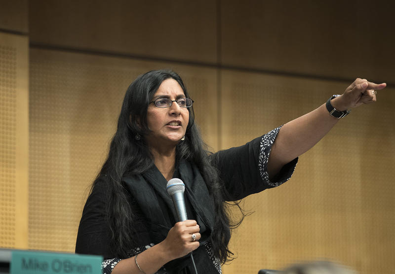 Councilmember Kshama Sawant speaks to the public before voting on the head tax on Tuesday, June 12, 2018, inside City Council Chambers at City Hall in Seattle.