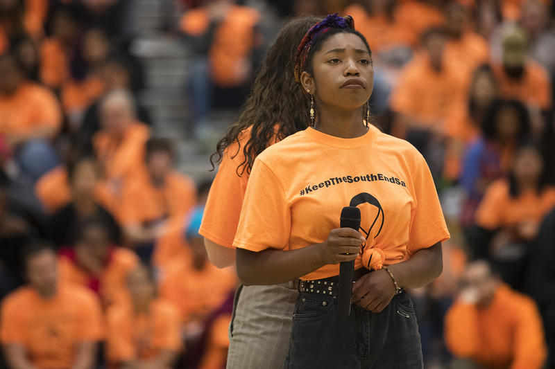 Savannah Blackwell, a freshman, performs a song during an assembly on Friday, June 8, 2018, at Franklin High School in Seattle.