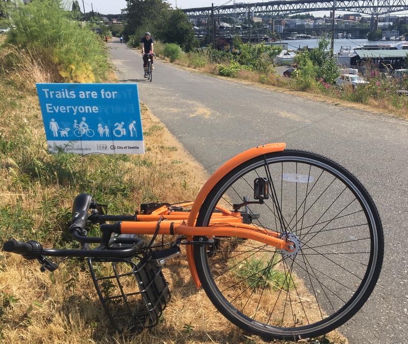 A toppled rental bike on Seattle's Burke-Gilman Trail