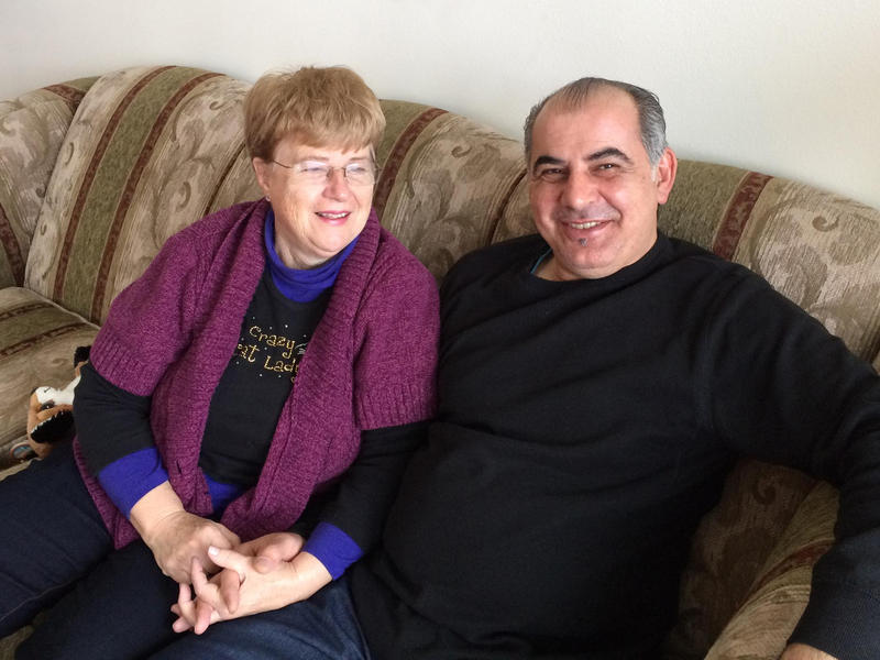 Pamela and Afshin Raghebi relax together. The couple has been separated since Afshin left the US to seek permanent legal status and has not been permitted to return home.