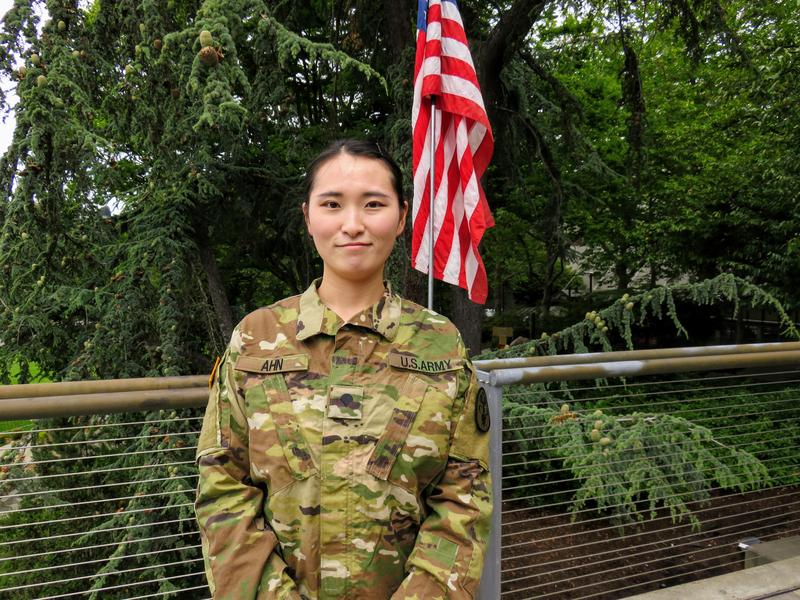 Eunji Ahn is a specialist in the Army and moved to the U.S. from South Korea
