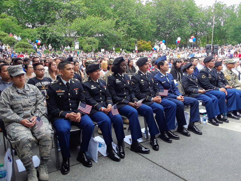 24 active service military members were sworn in as U.S. citizens