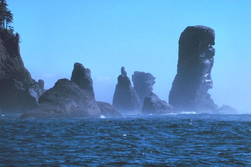 Fuca Pillar at Cape Flattery, the northwest extremity of the Olympic Peninsula. Olympic Coast National Marine Sanctuary, Washington.