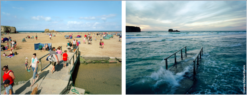 Beach in Perranporth, England - Low and High Tide