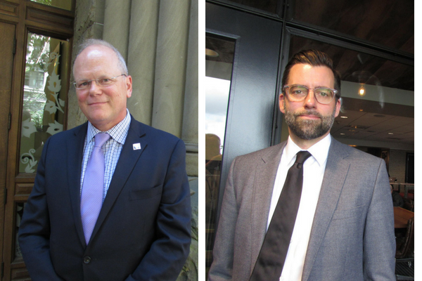 Daron Morris (right) resigned as a public defender in King County to see the prosecutor's job in November to take on incumbent King County prosecutor Dan Satterberg (left).