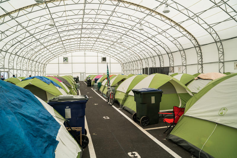 Inside the mega tent set up by the City of Tacoma after declaring a state of public health emergency