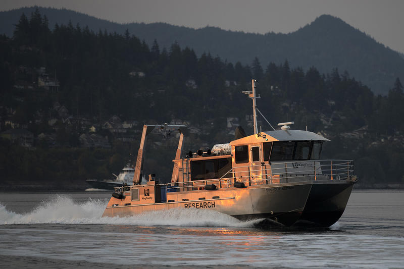 The SoundGuardian, a King County Research Vessel, is shown while approaching Squalicum Harbor to load 12 live chinook salmon on board on Friday, August 10, 2018, in Squalicum Harbor. (Image taken under the authority of NMFS MMPA/ESA Permit No. 18786-03)