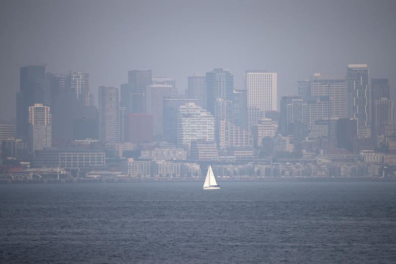 The smoke-shrouded Seattle skyline on Tuesday.