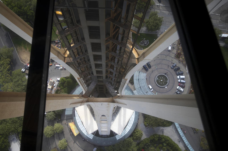 A view from the rotating glass floor at the Space Needle is shown on Friday, August 3, 2018, in Seattle.