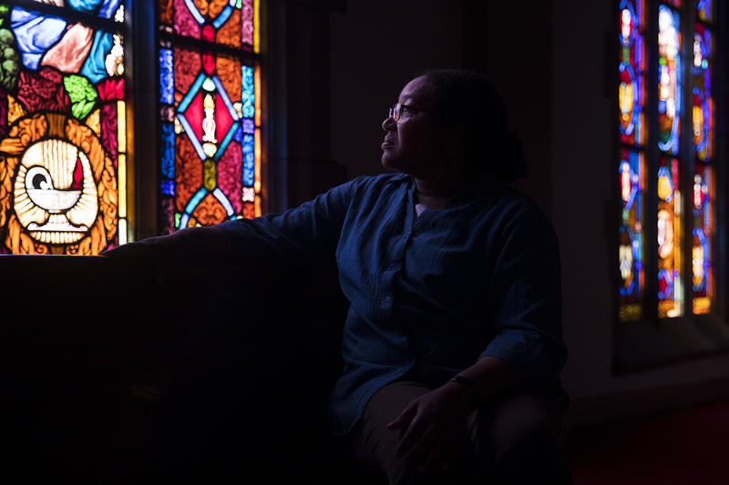 Marsha Tolon poses for a portrait at University Christian Church, which she has been attending since 1984. The church is for sale because its dwindling congregation cannot afford to maintain it.