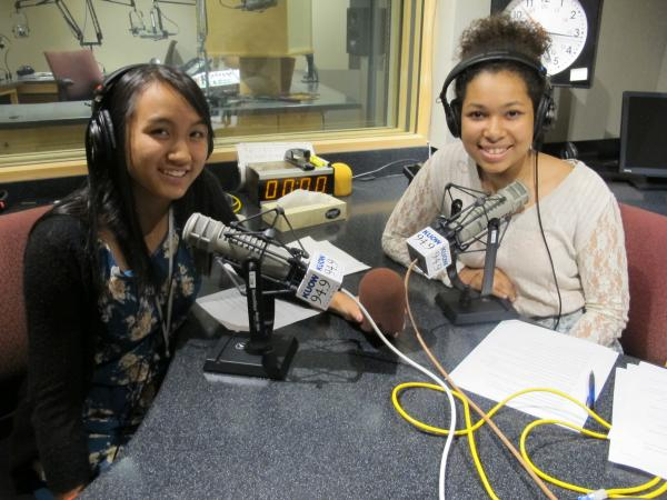 Angela and Nia recording the RadioActive podcast in KUOW's studios.