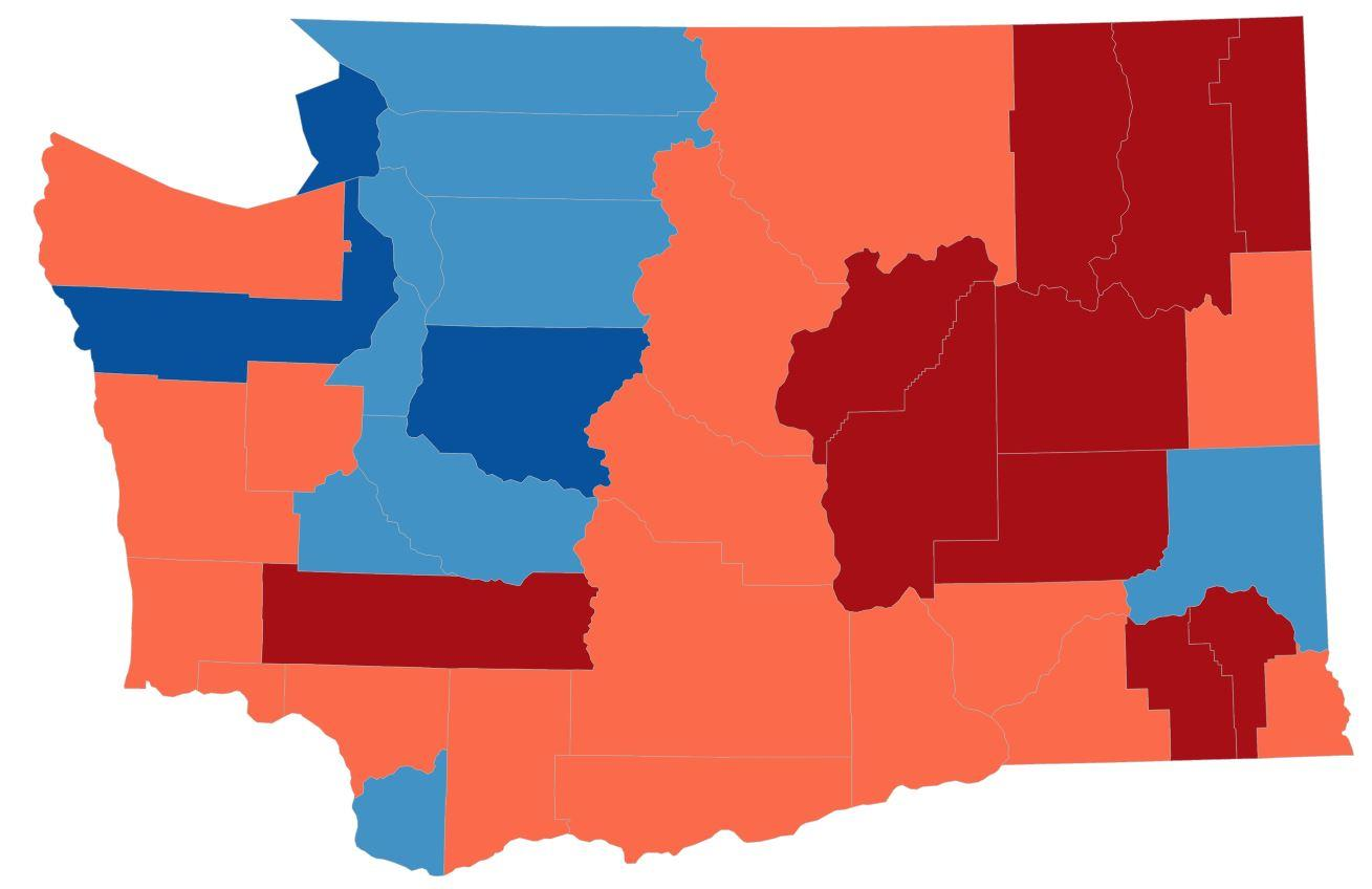 In Purple Pierce County Trump Voters And A Very Different Kind Of - Us voting map by county 2016