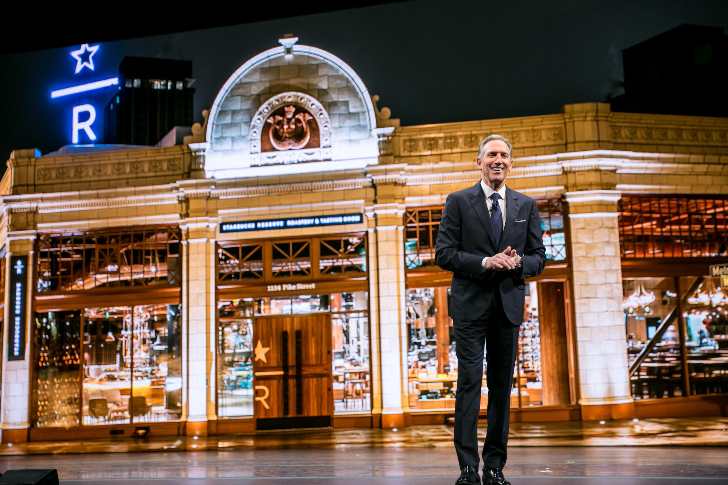 Starbucks CEO Howard Schultz. & The great Starbucks tent revival er shareholder meeting | KUOW ...